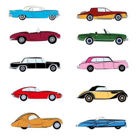 Illustration pour Retro cars sketch and flat vector illustration. Poster and icon illustration isolated - image libre de droit