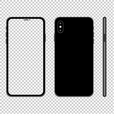 Illustration pour Smartphone mockup illlustration with transparent screen. Front, back and side view. Vector. - image libre de droit