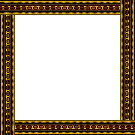 African traditional ornament. Square frame with geometric ornament. Ancient traditions. Vector.
