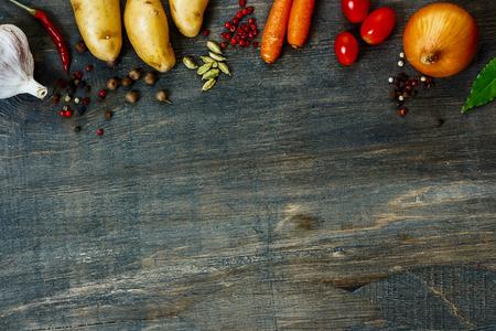 Foto de Design background vegetables with space for text. Healthy food from garden. - Imagen libre de derechos