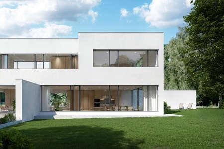 Foto de Warsaw Poland - August 7, 2018: Modern villa house exterior in garden - Imagen libre de derechos