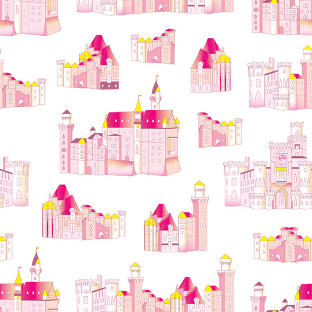 Princess medieval castles vector seamless pattern