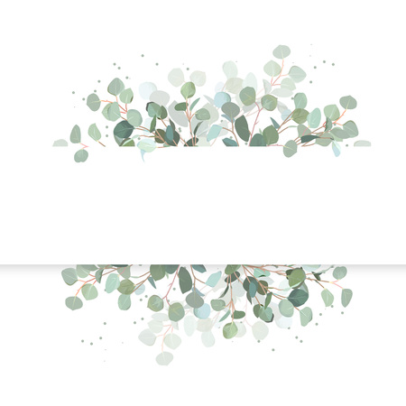 Illustration pour Wedding eucalyptus horizontal vector design banner. Rustic greenery. Mint, blue tones. Watercolor style collection. Mediterranean tree. All elements are isolated and editable - image libre de droit