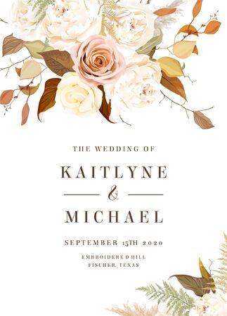 Illustration pour Moody boho chic vector design wedding frame - image libre de droit