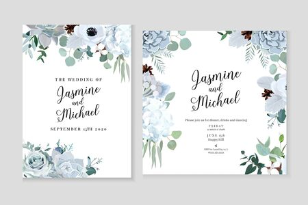 Illustration pour Winter grey and green jade color vector design cards. Echeveria succulent, anemone, hydrangea, cotton, brunia, rose, eucalyptus, greenery. Trendy pastel wedding frames collection.Isolated and editable - image libre de droit
