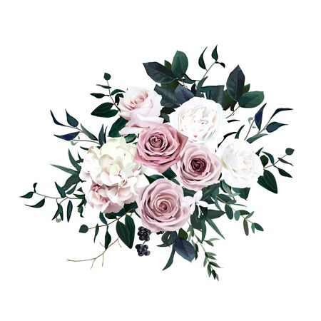 Illustration pour Dusty pink, pastel, white flowers glamour vector design wedding bouquet. Hydrangea, ranunculus, rose, black berry, emerald greenery. Floral dark luxury style. All elements are isolated and editable - image libre de droit