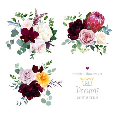 Illustration pour Dusty pink, yellow and creamy rose, magenta protea, burgundy and white peony flowers, orchid, pink camellia, eucalyptus, greenery, berry, marsala astilbe vector design bouquets. Isolated and editable - image libre de droit