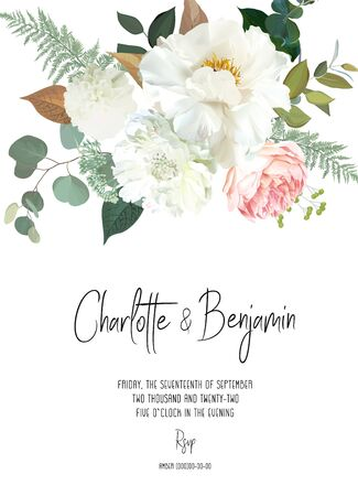 Illustration pour Retro delicate vector design flower card. Creamy peony, white dahlia, pink garden rose, eucalyptus, greenery, sage and blush. Wedding floral background. Watercolor vintage frame. Isolated and editable - image libre de droit