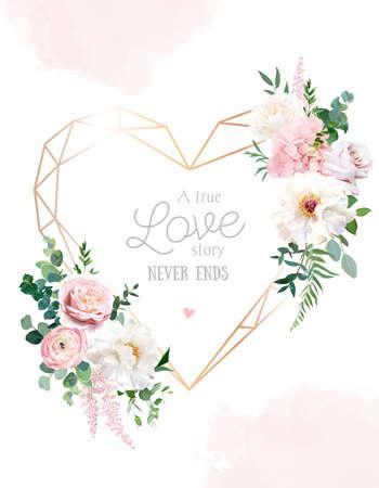 Illustration pour Flower geometric heart line art vector design frame - image libre de droit
