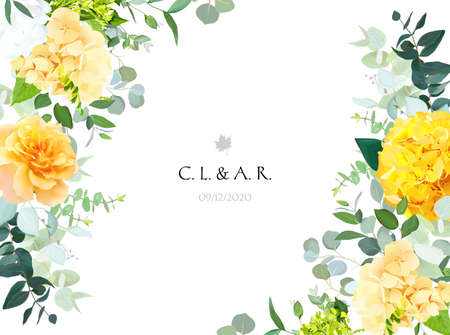 Illustration pour Yellow hydrangea, mustard rose, peony, white iris, orchid, spring garden flowers - image libre de droit