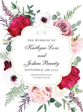 Illustration pour Elegant wedding card with summer flowers - image libre de droit