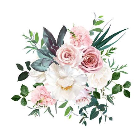 Illustration pour Dusty pink and cream rose, peony, hydrangea flower, tropical leaves vector design wedding bouquet - image libre de droit
