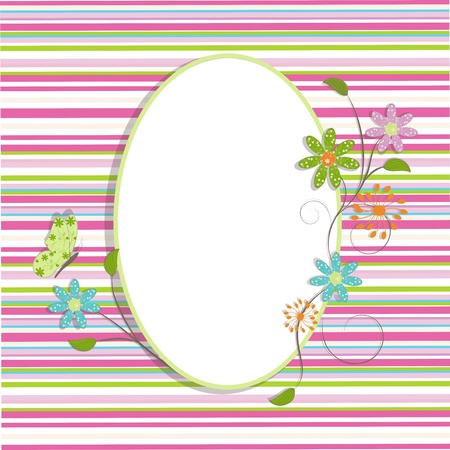 Ilustración de Beautiful greeting background with flowers scroll and butterfly, illustration - Imagen libre de derechos
