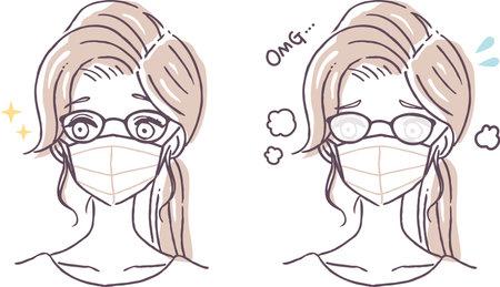 Illustration pour a woman whose glasses are fogging up with a face mask - image libre de droit