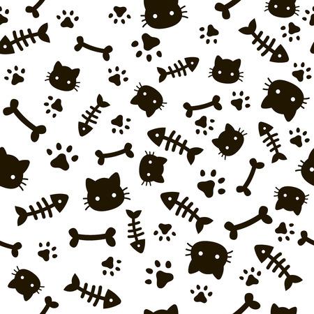 Paw seamless pattern. Animal footprints and bones. Cat dog paws wallpaper, cute puppy pet cartoon background