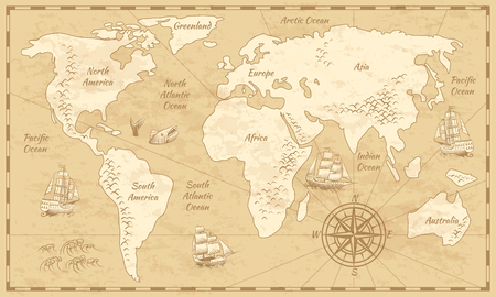 Vintage world map. Ancient world antiquity paper map with continents ocean sea old sailing vector background