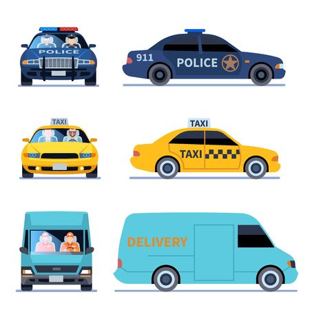 Car view. Truck delivery police automobile and taxi auto viewing side front isoleted urban drivers set