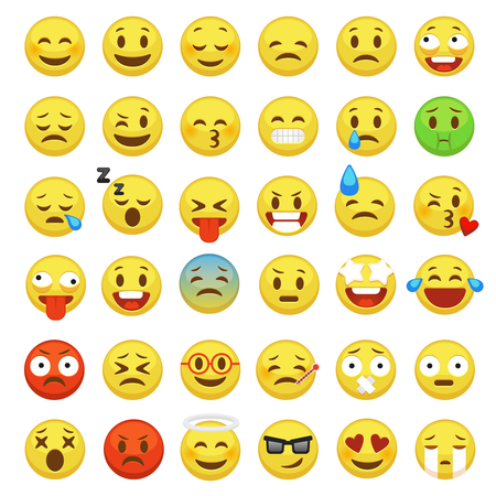 Illustration for Emoji set. Emoticon face smiley character facial yellow sign message people man emotion feelings chat happy and sad emojis cartoon vector icons - Royalty Free Image