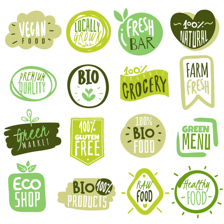 Illustration for Organic food labels. Natural healthy meal fresh diet products icon stickers. Ecology farm eco food. - Royalty Free Image