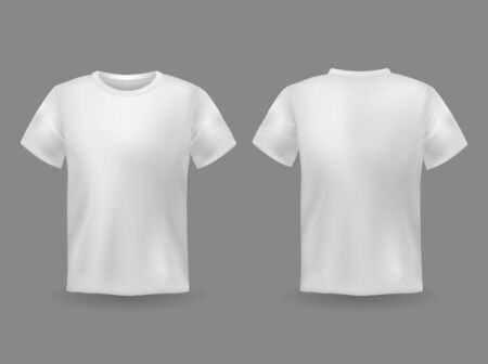 Illustration pour T-shirt mockup. White 3d blank t-shirt front and back views realistic sports clothing uniform. Female and male clothes vector wearing clear attractive apparel tshirt models template - image libre de droit