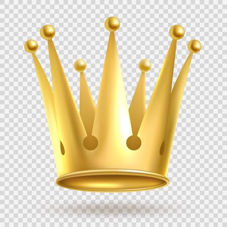 Illustration for Golden crown. Elegant gold metal royal crowning on transparent background vector realistic wealth imperial jewelry royalty illustration - Royalty Free Image