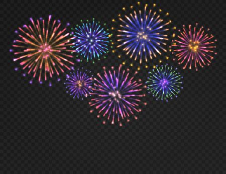Illustration pour Firework background. Isolated carnival salute on transparent backdrop. Festive xmas, new year and 4th july fireworks vector colorful bright night concept - image libre de droit