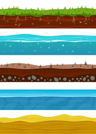Illustration pour Soil layers. Game ground surfaces with land grass, dried desert sand, water and ice. Landscape levels seamless vector nature grounded set - image libre de droit
