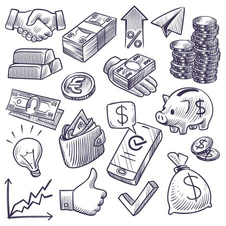 Illustration for Money and banking sketch. Dollar banknotes and coins, piggy bank and business chart, gold bar and handshake symbols. Investment doodle vector financial economy set - Royalty Free Image