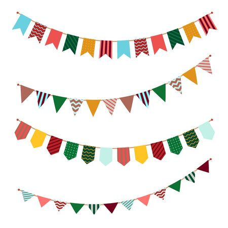 Illustration for Bunting set. Party flags garland with ornament decor on streamers for festival event or celebrating of birthdays vector holiday banners - Royalty Free Image