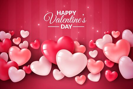 Illustration for Valentines day 3d hearts. Cute love banner, romantic greeting card happy valentines day wishes text, red heart balloons for party vector romance concept - Royalty Free Image