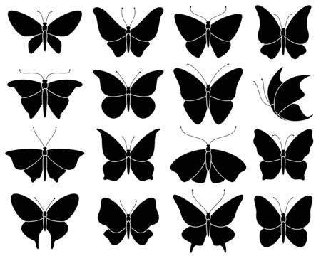 Butterfly silhouettes. Black stencil insect pattern, stylized spring symbol. Wedding decor elements, tattoo wing shapes vector wildlife elegant set