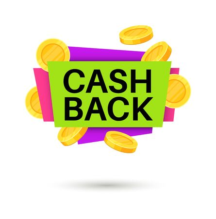 Cash back banner. Cashback money sign, isolated vector icon finance concept for retail business promotion sticker