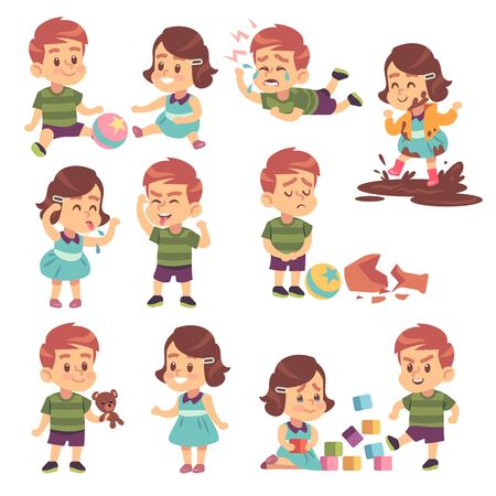 Illustration pour Good and bad kids. Playing peacefully and fighting, naughty and obedient children, conflict and funny boys and girls isolated cartoon vector child characters - image libre de droit