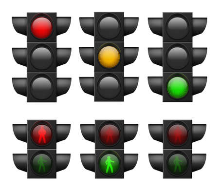 Illustration for Realistic traffic light. Led lights red, yellow and green, crosswalk and road safety, control accidents, signals street regulation system vector set isolated on white background - Royalty Free Image