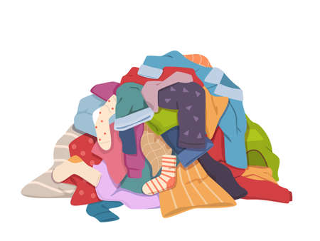 Illustration for Dirty clothes pile. Messy laundry heap with stains, different soiled smelly apparel, soiled fabric old shorts, t-shirts and socks on floor. Laundry vector isolated colorful concept - Royalty Free Image