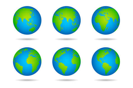 Illustration pour Earth globe. Sphere world map with continents on white background, globes from different angles, varios green continents and blue oceans, land and water vector illustration - image libre de droit