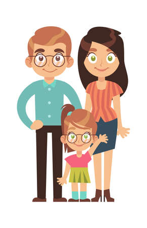 Illustration pour Happy family. Parents with child little girl, mom dad and daughter smile stand and hold hands cartoon character, relationships parenthood concept, flat vector isolated illustration - image libre de droit