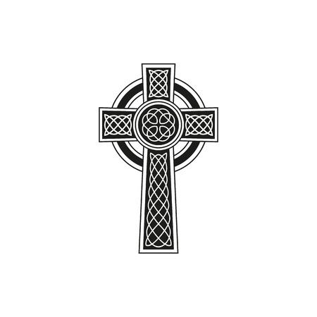 Illustration pour Simple black celtic cross with details on a white background - image libre de droit