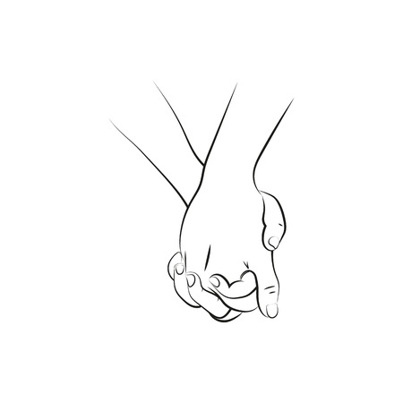 Ilustración de Outline illustration of a female and a male person holding hands  Icon Created For Mobile, Web And Applications. Simple black icon isolated on white background. Vector illustration. - Imagen libre de derechos
