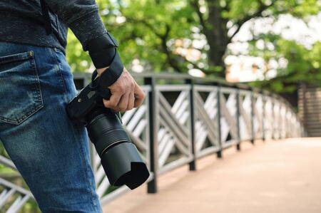 Photo pour Photographer with camera. - image libre de droit