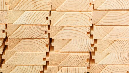 Photo pour End view of stacked floorboards. Wooden structure closeup. - image libre de droit