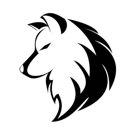 Illustration pour black white wolf vector logo design - image libre de droit