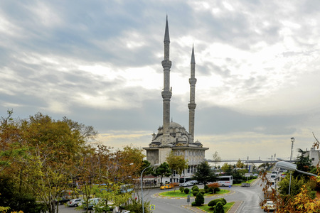 Istanbul, Turkey - November 9, 2014: Kadikoy pier. Protocol Haydarpasa Mosque in the background.Haydarpasa Protocol Cami.1873 year the mosque was destroyed in the construction of railways in 1982, it was rebuilt in the baroque and Ottoman style. The mosqu