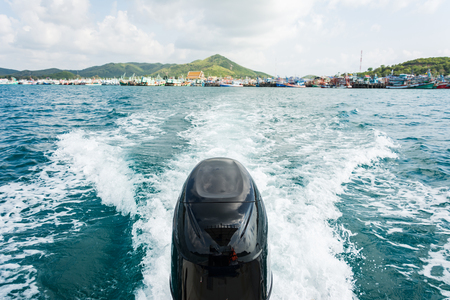 Engines of speed boat with Full Speed Drive in Gulf ot Thailand.