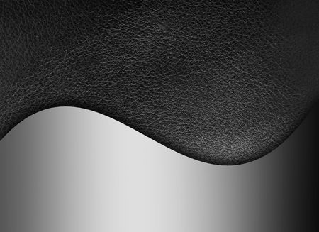 Black leather texture with chrome wave. Background