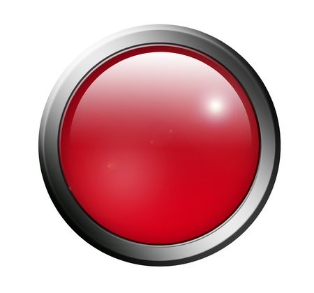 Red button with chrome surround over white background