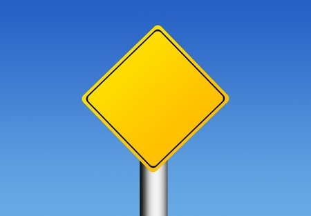 Yellow road sign over sky background with space in blank for insert text or design. Illustration