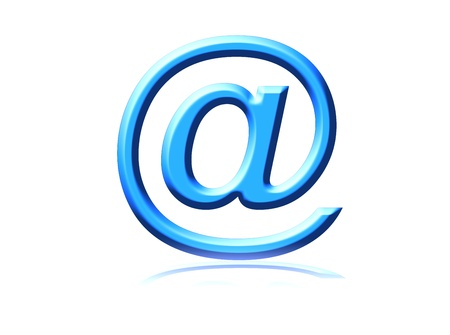 email symbol representation on white background with reflex