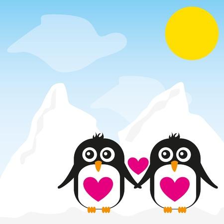 penguin cartoon over snow landscape background. vector
