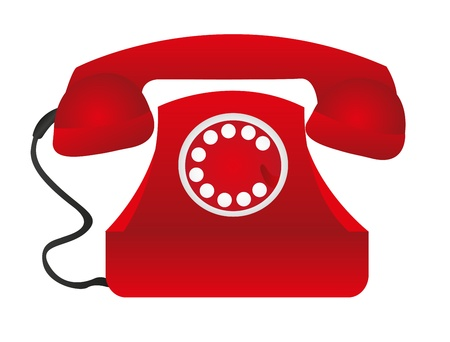 red telephone over white table background. vector